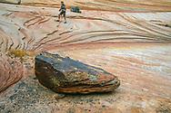 Hiker passes erratic boulder on layered sandstone formation, Zion National Park, Utah (MR) © David A. Ponton