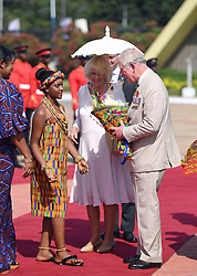 The Prince of Wales and Duchess of Cornwall are greeted on arrival at Jubilee House in Accra, Ghana, on day three of their trip to west Africa.