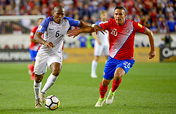 September 1, 2017 - Harrison, NJ, USA - Harrison, N.J. - Friday September 01, 2017:  Darlington Nagbe, David Guzmán during a 2017 FIFA World Cup Qualifying (WCQ) round match between the men's national teams of the United States (USA) and Costa Rica (CRC) at Red Bull Arena. (Credit Image: © Howard Smith/ISIPhotos via ZUMA Wire)