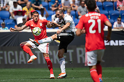July 28, 2018 - Harrison, New Jersey, United States - Juventus defender GIORGIO CHIELLINI (3) fights for the ball against a SL Benfica player during the International Champions Cup at Red Bull Arena in Harrison, NJ.  Juventes vs Benfica (Credit Image: © Mark Smith via ZUMA Wire)