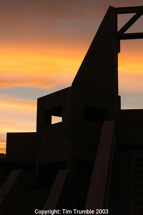 Building detail of Arizona State Univeristy Art Museum at sunset