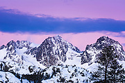 Dawn light on Mount Ritter and Banner Peak, Ansel Adams Wilderness, Sierra Nevada Mountains, California USA