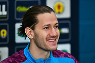 Peter Haring (#5) of Heart of Midlothian FC speaks to the media during the Heart of Midlothian press conference, media and training session, ahead of the William Hill Scottish Cup Final, at the Oriam Sports Performance Centre, Edinburgh, Scotland on 15 December 2020.<br /> <br /> *** EMBARGOED UNTIL 16/12/2020 ***