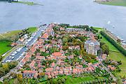 Nederland, Zeeland, Walcheren, 19-10-2014; Veere met Veerse Meer. Rechts Kanaal door Walcheren, links de Veersche Krrek .<br /> <br /> luchtfoto (toeslag op standard tarieven);<br /> aerial photo (additional fee required);<br /> copyright foto/photo Siebe Swart