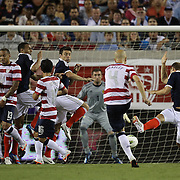 United States Midfielder Michael Bradley (4) attempts a free kick during an international friendly soccer match between Scotland and the United States at EverBank Field on Saturday, May 26, 2012 in Jacksonville, Florida.  The United States won the match 5-1 in front of 44,000 fans. (AP Photo/Alex Menendez)