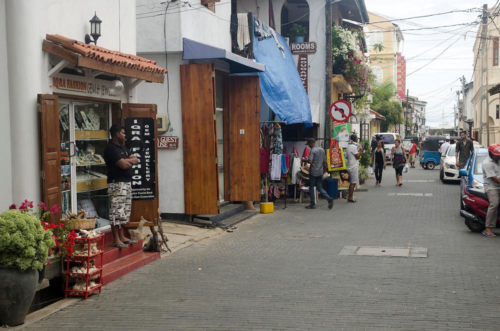 Street scene in the old Dutch quarter Galle Fort, Sri Lanka