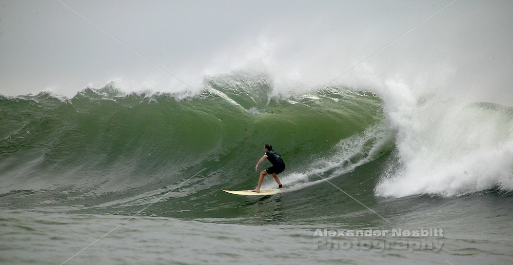 Surfing Tuckermans point during tropical storm Ophelia