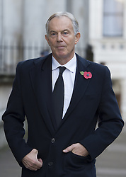 Former Prime Minister Tony Blair walks through Downing Street on his way to the annual Remembrance Sunday Service at the Cenotaph memorial in Whitehall, central London, held in tribute for members of the armed forces who have died in major conflicts.