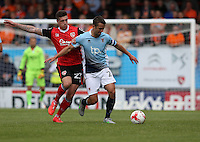 Blackpool's Danny Pugh and Morecambe's Cole Stockton<br /> <br /> Photographer Stephen White/CameraSport<br /> <br /> Football - The EFL Sky Bet League Two - Morecambe v Blackpool - Saturday 13th August 2016 - Globe arena - Morecambe<br /> <br /> World Copyright © 2016 CameraSport. All rights reserved. 43 Linden Ave. Countesthorpe. Leicester. England. LE8 5PG - Tel: +44 (0) 116 277 4147 - admin@camerasport.com - www.camerasport.com