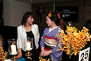 SUSAN GOODE; HARUMI YAMAMURA, The Tomodachi ( Friends) Charity Dinner hosted by Chef Nobu Matsuhisa in aid of the Japanese Tsunami Appeal. Nobu Park Lane. London. 4 May 2011. <br /> <br />  , -DO NOT ARCHIVE-© Copyright Photograph by Dafydd Jones. 248 Clapham Rd. London SW9 0PZ. Tel 0207 820 0771. www.dafjones.com.