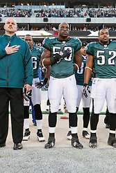 Philadelphia Eagles linebacker Will Witherspoon #50 during the singing of the national anthem before the NFL game between the Denver Broncos and the Philadelphia Eagles on December 27th 2009. The Eagles won 30-27 at Lincoln Financial Field in Philadelphia, Pennsylvania. (Photo By Brian Garfinkel)