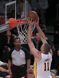 March 11, 2018 - Los Angeles, California, U.S - Brook Lopez #11 of the Los Angeles Lakers goes for a dunk during their NBA game with the Cleveland Cavaliers on Sunday March 11, 2018 at the Staples Center in Los Angeles, California. Lakers defeat Cavaliers, 127-113. (Credit Image: © Prensa Internacional via ZUMA Wire)