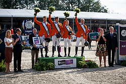 Team Netherlands, Jur Vrieling, Harrie Smolders, Robe EHrens, (Chef d'Equipe), Maikel van der Vleuten, Willem Greve <br /> Furusiyya FEI Nations Cup presented by Longines<br /> CHIO Rotterdam 2016<br /> © Hippo Foto - Dirk Caremans<br /> 24/06/16
