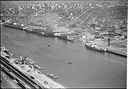 """Aerials of dock area. Terminal 1. July 25, 1950"""