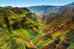 Waimea Canyon, the Grand Canyon of the Pacific, approximately one mile wide and ten miles long, more than 3,500 feet deep, Waimea Canyon State Park, Kauai, Hawai, USA