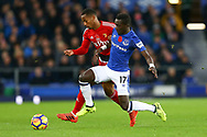 Andre Carrillo of Watford (l) is tackled by Idrissa Gueye of Everton. Premier league match, Everton vs Watford at Goodison Park in Liverpool, Merseyside on Sunday 5th November 2017.<br /> pic by Chris Stading, Andrew Orchard sports photography.