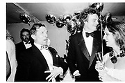 Nigel Dempster and Richard Compton Miller. . Berkeley Square Ball. 7 July 1986.  SUPPLIED FOR ONE-TIME USE ONLY> DO NOT ARCHIVE. © Copyright Photograph by Dafydd Jones 66 Stockwell Park Rd. London SW9 0DA Tel 020 7733 0108 www.dafjones.com