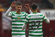 GOAL 1-3 Mohamed Elyounoussi (Celtic) is congratulated by Nir Bitton (Celtic) during the Scottish Premiership match between Motherwell and Celtic at Fir Park, Motherwell, Scotland on 8 November 2020.