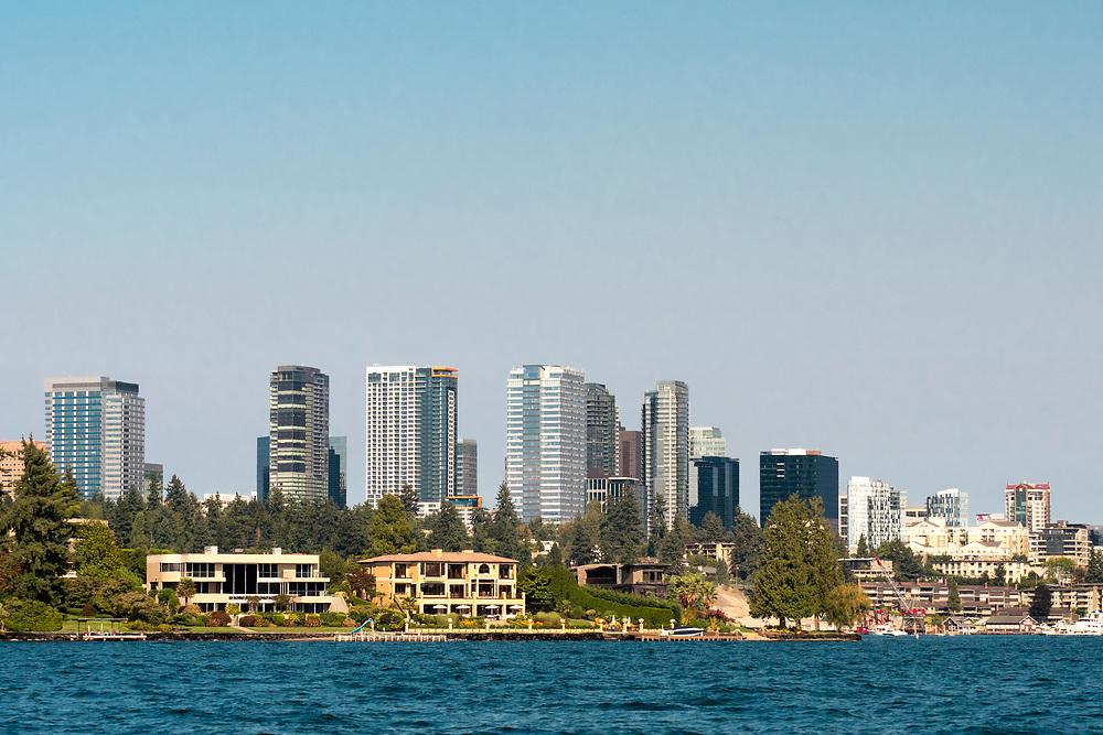 United States, Washington, Bellevue. Skyline from Lake Washington.