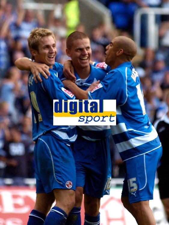 Photo: Alan Crowhurst.<br />Reading v Crewe Alexandra. Coca Cola Championship.<br />17/09/2005. Ivar Ingimarsson (C) celebrates his goal with Kevin Doyle (L) and James Harper of Reading.