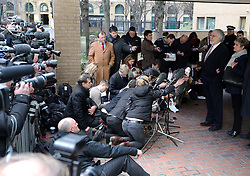 Dave Lee Travis and his wife Marianne Griffin speaking to the media outside Southwark Crown Court in London after he was cleared of 12 out of 14 charges, Thursday, 13th February 2014. Picture by Stephen Lock / i-Images