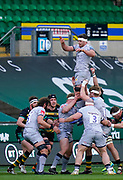 Sale Sharks flanker Jono Ross passes from a line out during a Gallagher Premiership Round 13 Rugby Union match, Saturday, Mar. 12, 2021, in Northampton, United Kingdom. (Steve Flynn/Image of Sport)