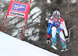20.01.2011, Tofana, Cortina d Ampezzo, ITA, FIS World Cup Ski Alpin, Lady, Cortina, Abfahrt 2. Training, im Bild Blick von den Tribühnen im Bild Dominique Gisin (SUI, #8) // Dominique Gisin (SUI) during FIS Ski Worldcup ladies downhill second training at pista Tofana in Cortina d Ampezzo, Italy on 20/1/2011. EXPA Pictures © 2011, PhotoCredit: EXPA/ J. Groder