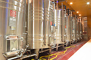 Stainless steel fermentation tanks in the winery of Guigal.   Domaine E Guigal, Ampuis, Cote Rotie, Rhone, France, Europe