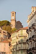 Musee de La Castre and medieval clock tower castle part of Cannes, Cannes, France.