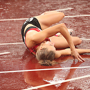 TOKYO, JAPAN August 2:  Sara Slott Petersen of Denmark after falling during the semi finals of the 400m hurdles for women during the Track and Field competition at the Olympic Stadium  at the Tokyo 2020 Summer Olympic Games on August 2nd, 2021 in Tokyo, Japan. (Photo by Tim Clayton/Corbis via Getty Images)
