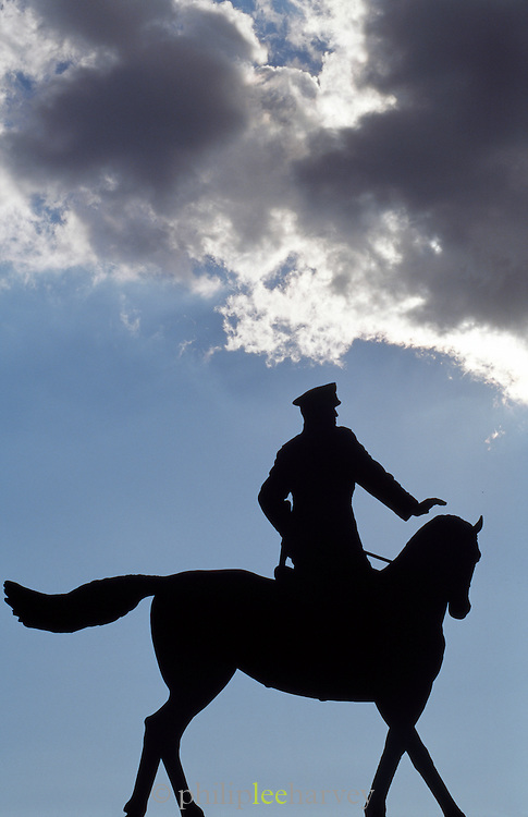 Silhouette of Marshal Georgy Zhukov, Moscow, Russia