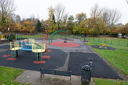© Licensed to London News Pictures. 16/11/2018. Orpington, UK. Briset Park play area, A police cordon is in place with police standing guard after a 17 year old boy was stabbed multiple times in an attack last night in Eltham. Police were called at 10.25pm.The teenager remains critical but stable.Photo credit: Grant Falvey/LNP