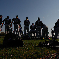 February 20, 2011; Port Charlotte, FL, USA; Tampa Bay Rays pitchers gather for the start of a spring training practice at Charlotte Sports Park.  Mandatory Credit: Derick E. Hingle