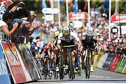 January 17, 2018 - Stirling, Australia - Australian CALEB EWAN of Orica Scott sprints to win on the finish line at stage 2 of the Tour Down Under cycling race, 148,6 km from Unley to Stirling. (Credit Image: © Yuzuru Sunada/Belga via ZUMA Press)