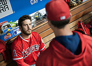 The Angels' Cory Rasmus talks with pitching coach Charles Nagy in the dugout during the Angels' Freeway Series game against the Dodgers Thursday night at Dodger Stadium.<br /> <br /> ///ADDITIONAL INFO:   <br /> <br /> freeway.0401.kjs  ---  Photo by KEVIN SULLIVAN / Orange County Register  --  3/31/16<br /> <br /> The Los Angeles Angels take on the Los Angeles Dodgers at Dodger Stadium during the Freeway Series Thursday.<br /> <br /> <br />  3/31/16
