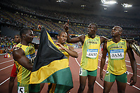 Friidrett<br /> OL 2008 Beijing<br /> 22.08.2008<br /> Foto: imago/Digitalsport<br /> NORWAY ONLY<br /> <br /> 4x100m Staffel Olympiasieger Jamaica v.li.: Nesta Carter, Michael Frater, Usain Bolt, Asafa Powell <br /> <br /> BILDET INNGÅR IKKE I FASTPAKKER