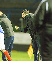 Cowdenbeath's manager Liam Fox after their third goal. Cowdenbeath 3 v 4 Forfar Athletic, Scottish Football League Division Two game played 17/12/2016 at Central Park.