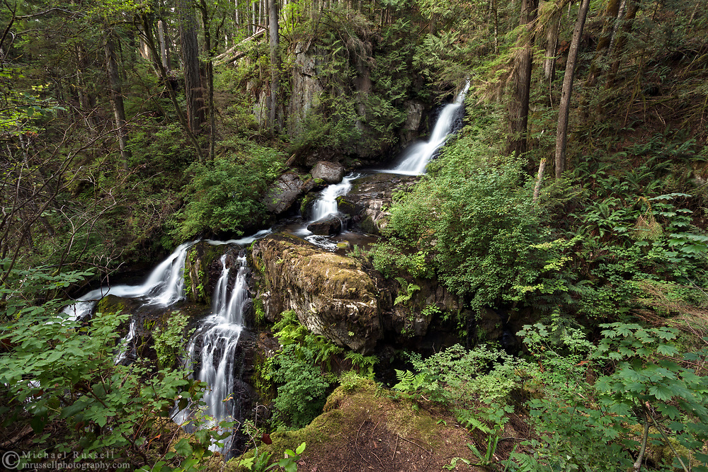 Side view of Steelhead Falls near the Reservoir Trail in the Hayward Lake Recreational Area in Mission, British Columbia, Canada