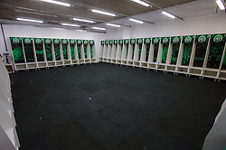 CHAPECO, Nov. 30, 2016 (Xinhua) -- Photo taken on Nov. 29, 2016 shows the locker room of Brazilian football team Chapecoense at Conda Arena in Chapeco municipality, Santa Catarina state, Brazil. Colombian President Juan Manuel Santos on Tuesday lamented the plane crash in the northwest of his country that killed 71 people. The LMI2933 charter flight carrying Brazilian football team Chapecoense was heading to a championship final of the South American Cup in Medellin, Colombia. (Xinhua/Gabriela Bilo/AGENCIA ESTADO) (djj) ***BRAZIL OUT* (Credit Image: © Agencia Estado/Xinhua via ZUMA Wire)