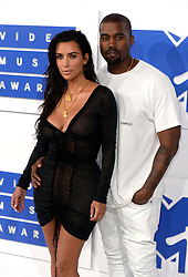 Kim Kardashian and Kanye West arriving at the MTV Video Music Awards 2016, Madison Square Garden, New York City.