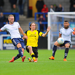 TELFORD COPYRIGHT MIKE SHERIDAN 13/10/2018 - Jon Royle of AFC Telford clears under pressure from Josh Wilson (formerly of AFC Telford) during the Vanarama National League North fixture between AFC Telford United and Chorley