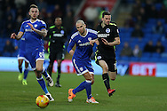 Matthew Connolly of Cardiff city © fouls Jamie Murphy of Brighton ®. EFL Skybet championship match, Cardiff city v Brighton & Hove Albion at the Cardiff city stadium in Cardiff, South Wales on Saturday 3rd December 2016.<br /> pic by Andrew Orchard, Andrew Orchard sports photography.