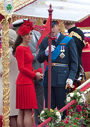 © Licensed to London News Pictures. 03/06/2012. .London, England. .Kate Middleston and Prince William onboard the Royal Barge Gloriana at TheThe Thames river pageant. The Royal Jubilee celebrations. Great Britain is celebrating the 60th  anniversary of the countries Monarch HRH Queen Elizabeth II accession to the throne this weekend Photo credit : LNP