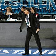 Efes Pilsen's coach Velimir PERASOVIC during their Turkish Basketball league match Efes Pilsen between Erdemir at the Sinan Erdem  Arena in Istanbul Turkey on Saturday 29 January 2011. Photo by TURKPIX
