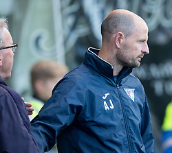 Alex Smith in charge for Falkirk, at the end of  the game with Dunfermline's manager Allan Johnston. Falkirk 2 v 0 Dunfermline, Scottish Challenge Cup played 7/9/2017 at The Falkirk Stadium.