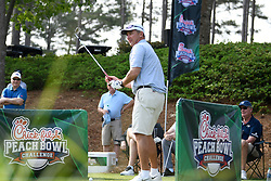 Former Ohio State head football coach Urban Myer during the Chick-fil-A Peach Bowl Challenge Closest to the Pin Skills Competition at the Ritz Carlton Reynolds, Lake Oconee, on Monday, April 29, 2019, in Greensboro, GA. (Dale Zanine via Abell Images for Chick-fil-A Peach Bowl Challenge)