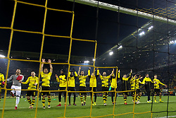 DORTMUND, Dec. 17, 2017  Players of Dortmund celebrate after winning the Bundesliga match between Borussia Dortmund and TSG 1899 Hoffenheim at Signal Iduna Park on December 16, 2017 in Dortmund, Germany. Dortmund won 2-1. (Credit Image: © Joachim Bywaletz/Xinhua via ZUMA Wire)