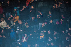 Fans in the South Stand after Falkirk's goal. Falkirk 1 v 1 Morton, Scottish Championship game today at The Falkirk Stadium. © Michael Schofield.