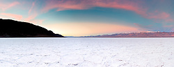 """""""Sunrise at Badwater Basin 3"""" - Stitched panoramic sunrise photograph of salt flat formations at Badwater Basin in Death Valley, California."""