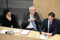 "27.05.2019, Hofburg, Wien, AUT, Sondersitzung des Nationalrates, Sitzung des Nationalrates aufgrund des Misstrauensantrags der Liste JETZT, FPOE und SPOE gegen Bundeskanzler Sebastian Kurz (OeVP) und die Bundesregierung, im Bild v.l. Elisabeth Köstinger (ÖVP), Innenminister Eckart Ratz, Sebastian Kurz (ÖVP) // during special meeting of the National Council of austria due to the topic ""motion of censure against the federal chancellor Sebastian Kurz (OeVP) and the federal government"" at the Hofburg in Wien, Austria on 2019/05/27. EXPA Pictures © 2019, PhotoCredit: EXPA/ Lukas Huter"